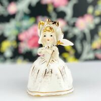 "Vintage Lefton Figurine Flower Petal Girl Petticoats w/ Umbrella 4"" Gold Trim"