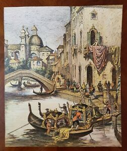 A Fine Venice Color Etching By Luigi Kasimir Italy Gondola Canal Water Venetian
