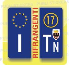ADESIVI BLU RIFRANGENTI PER TARGA AUTO EUROPEA CON PROVINCIA E SIMBOLO TRENTO