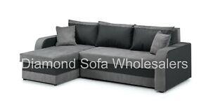 Sofa - Kris Corner Sofa Bed With Storage - Black/White & Grey / Leather & Fabric