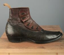 Men's Early 1900s Edwardian Pull On Ankle Boots sz 6 Or 7 Vtg Button Teens Shoes
