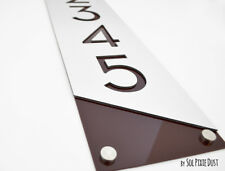 Modern House Numbers, Alucobond with Brown Acrylic - Vertical 3- Contemporary Ho