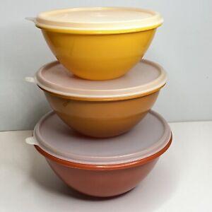 Vintage Tupperware Nesting Mixing Bowl Lid Set Of Three