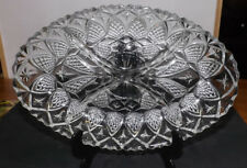 OVAL CUT GLASS SERVING DISH NUTS SWEETS SAUCES BUFFET DISH MADE IN FRANCE