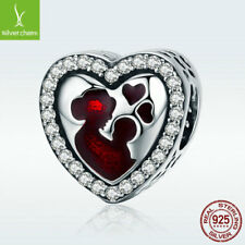 925 Sterling Silver Heart Charm Bead Great Mother & Baby Salute To Mom Present