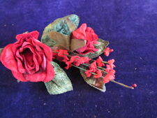 "Millinery Flower Velvet 3"" Rose + 1/2"" Forget Me Not True Red Trim for Hat Y241"