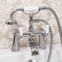 Traditional Bathroom Bath Shower Mixer Tap Hose Handset Lever Handles Ceramic