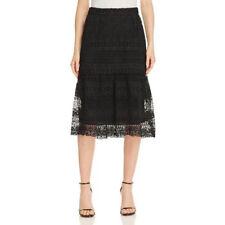 NWT LUCY PARIS Womens Size 8 XS Black Crotchet Lace Flare Midi A-Line Skirt
