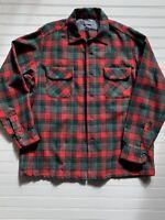 VTG 60s Pendleton Wool Board Shirt Loop Collar Tartan Plaid Red Green Black L