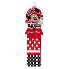 MINNIE set 3pezzi rosso cappello+sciarpa+guanti in lana morbidi caldi da bambina