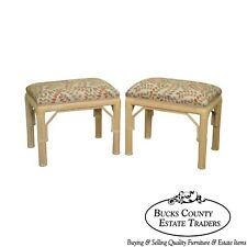 McGuire Style Pair of Rattan Bamboo Frame Benches