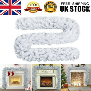 9FT White Artificial Christmas Garland Wreath Xmas Tree Fireplace Decorations UK
