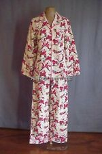 Nick and Nora Womens XXL Flannel Pajama Pj's Set Vintage Skiing Santa Christmas