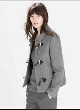 Zara Basic Women's Grey Duffle High Neck Coat Size M UK 10 Short Outdoor NEW -72