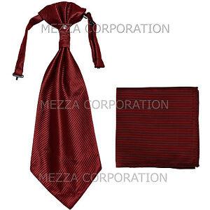 New 100% Polyester Men's Horizontal Stripes Ascot Cravat Hankie Party Burgundy