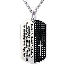 CO_ Stainless Steel Dog Tag Cross Bible Verse Pendant Men Necklace Jewelry Gift