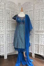 Blue banarsi brocade & silk churidaar suit - UK Size 10/ EU 36 SKU15762