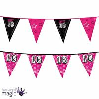 New Sweet 16 16th Happy Birthday Party Hanging Bunting Garland Banner Decoration