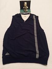 Adidas Navy Blue and Cream Golf Vest Mens Sportswear Large Reversible.. NICE
