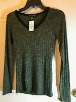 Petite Small Dk Olive Lightweight Long Sleeve Top By American Dream-V Neck NWT