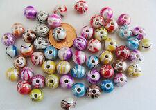Lot 50 perles Résine Rondes 8mm mix couleurs Multicolores irisées DIY Bijoux