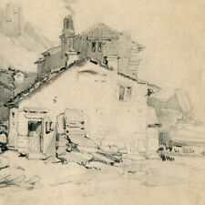BERTALL 1 dessin paysage crayon sans titre (fortifications) / XIX / Napoléon III