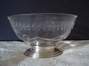 Hawkes Sterling Antique Crystal Bowl c1935 Engraved Sterling Base Signed