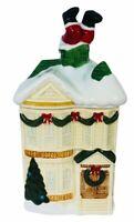 Vintage HOMCO Victorian House Christmas Cookie Jar Santa Stuck in Chimney 1990