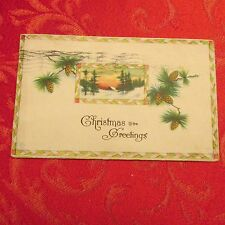 Vintage postcard Christmas Xmas lot greetings pinecone 1926 Mount Carroll IL Ill