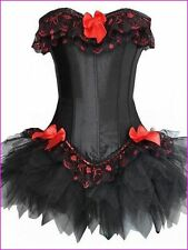 Corsetto nero con Red & Black Lace Tutu Taglia Large circa 12 Regno Unito.