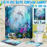 4pcs Dolphin Bathroom Set Shower Curtain Toilet Seat Cover Bath Mat Non-Slip Rug
