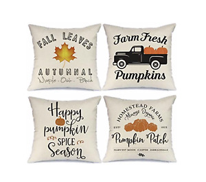 Fall Pillow Covers 18x18 inch Set of 4 Truck Pumpkin Patch Leaves Throw Pillows