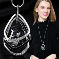 Damen Halskette Schmuck Anhänger Silber lang Kette Mode Strass Luxus