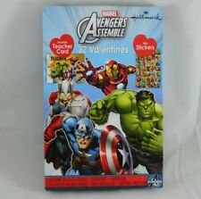 32 Count Marvel Avengers Assemble Hallmark Valentines Day Cards & Stickers Party