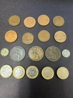United Kingdom Coin lot, old one pence, silver #5512