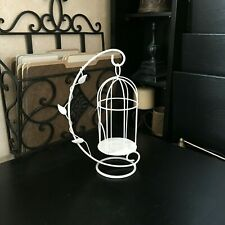 "SHABBY CHIC 10.5""x6"" Metal VOTIVE CANDLE HOLDER White BIRDCAGE Country DECOR"