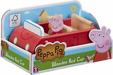 PEPPA PIG - PEPPA PIG WOODEN RED CAR WITH PEPPA FIGURE