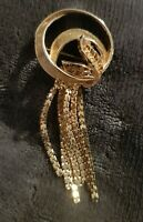 Vintage Goldtone Brooch ribbon leaf swirl textured dangly statement