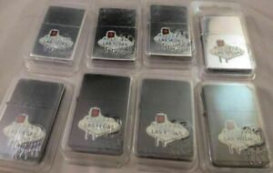 WHOLESALE LOT OF 8 LAS VEGAS LIGHTERS Chrome black Welcome to Famous Neveda New