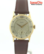 Vintage Post 10K Yellow Gold Filled Burgundy Leather Hand Winding Unisex Watch