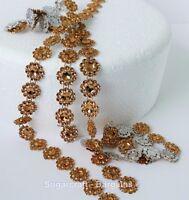 BLING RIBBON SPARKLY Sugarcraft Cake decorating Card GOLD mesh ribbons diamante
