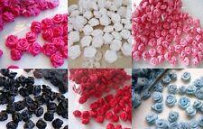 100 Mini Satin Ribbon Rose Flower 8mm/wedding/sewing/trim/bow/craft/favors F18
