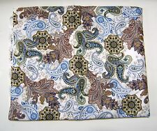 Off White Blue Brown Paisley Bohemian Print Quilting Crafting  Fabric 1 Yard