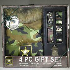 U.S. ARMY CAMO 4 Piece Gift Set for MEDIUM Dog Vest/Collar/Leash/Charm ***NEW***