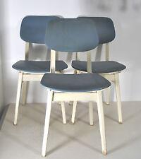 3 Küchenstühle Esstisch-Stühle blau/weiss 60s Jahre chair Kunststoffbezüge