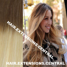 EXTRA THICK BALAYAGE OMBRE CLIP IN REMY HUMAN HAIR EXTENSIONS BROWN BLONDE 6/613