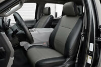 FORD F-150 2015-2020 BLACK/CHARCOAL IGGEE S.LEATHER CUSTOM FIT FRONT SEAT COVER