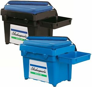 Shakespeare NEW Seatbox LOADED- Box/Cushion/Padded Strap/Tacklebox/2 Side Trays