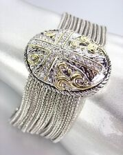 Designer Style Silver Cable Filigree CZ Crystals Cross Chains Magnetic Bracelet