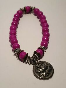 Feng Shui Crystal Bracelet Purple Magnesite with Lotus Charm includes story